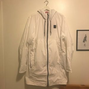 Nike white long track jacket